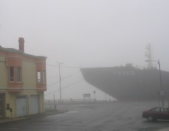 Harbour obscured (hpatey) Tags: ocean 2005 city canada water fog architecture newfoundland harbor spring downtown harbour ships stjohns hpatey aartgallery