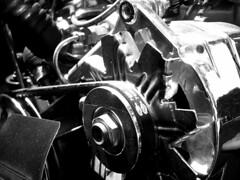 Engine (jon|k) Tags: blackandwhite bw favorite macro car work blackwhite belt automobile engine fave motor jalopy alternator