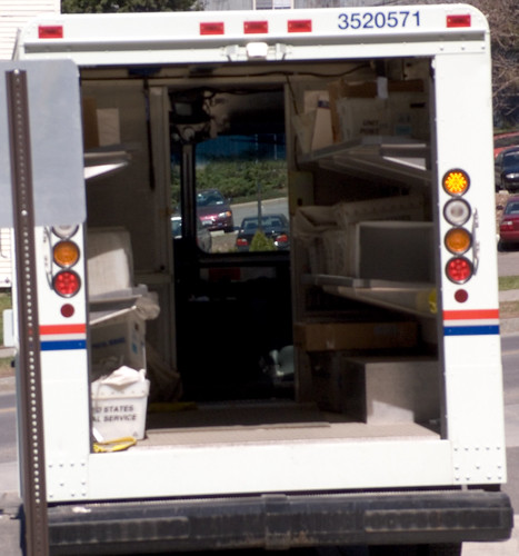 The Inside of a US mail truck