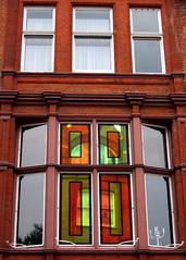Cadogan Gardens, SW3 (djwhelan) Tags: london cadogangardens window stainedglass reflection