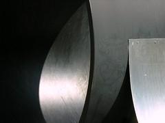 Sculpture #4 (Flatten) (O Caritas) Tags: sculpture art campus artwork michiganstateuniversity michigan msu 25 eastlansing wharton twentyfive orpheus whartoncenter nikoncoolpix8800 cliftondoloreswhartoncenterfortheperformingarts melleiserowitz whartoncenterfortheperformingarts