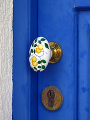 Hand-painted Door Handle (mnadi) Tags: door blue macro colors closeup architecture handle nikon handmade creative greece handpainted lonely closeups  cefalonia nikonstunninggallery