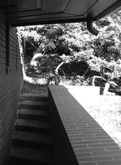 stair (Remiss63) Tags: ranch blackandwhite bw house brick home silhouette horizontal wall architecture modern design masonry stlouis angles modernism franklloydwrig