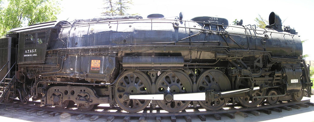 Calebs Flat Stanley on giant old steam locomotive 2 in Kingman, AZ panorama