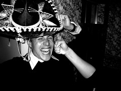Punch (Dave Surgan) Tags: aaron sombrero party punch fist smile orlando florida blackandwhite bw
