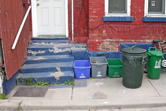 Toronto recycles (Kevin Steele) Tags: toronto steps bin sidewalk recycle bluebox plasticbins greenbox greybox
