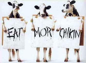 Eat more chicken sign held up by 3 cows