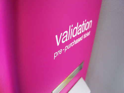 Validation -- calgary typography helvetica pink sign alberta canada type exterior validation machine ticket