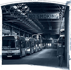 No smoking in the depot (Shooz) Tags: unfound glasgow govanhill bus buses busdepot depot bw blackandwhite tinted sign