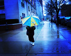 Raining on Sponge Bob (moriza) Tags: blue trees cars umbrella jasper alone 100v10f mo sidewalk rainy spongebob mohammad hoboken moriza riza lonefigure modomatic
