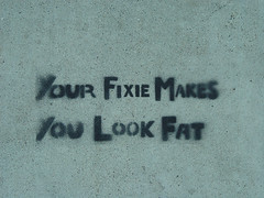 Your Fixie Makes You Look Fat (Franco Folini) Tags: sf sanfrancisco california ca usa streetart bike bicycle photography graffiti us stencil track foto cyclist arte pavement fat sony bikes gear urbanart sidewalk cambio mission singlespeed fixed biker fixie fixedgear missiondistrict fotografia pista sidewalkart trottoir trackbike bicicletta marciapiede missionst dscf707 francofolini folini