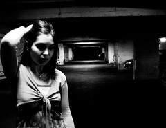 Light (ValetheKid) Tags: light portrait bw girl night shadows emotion expression parking young obscurity