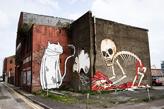 Skeleton (Simon Crubellier) Tags: uk ireland canon skeleton eos graffiti mural europe belfast northernireland guts eos20d simoncrubellier