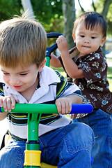 the coveted toy (sesame ellis) Tags: park boys santamonica tricycle notmykids flickrmixr hapakoreanskid windwardskieskid