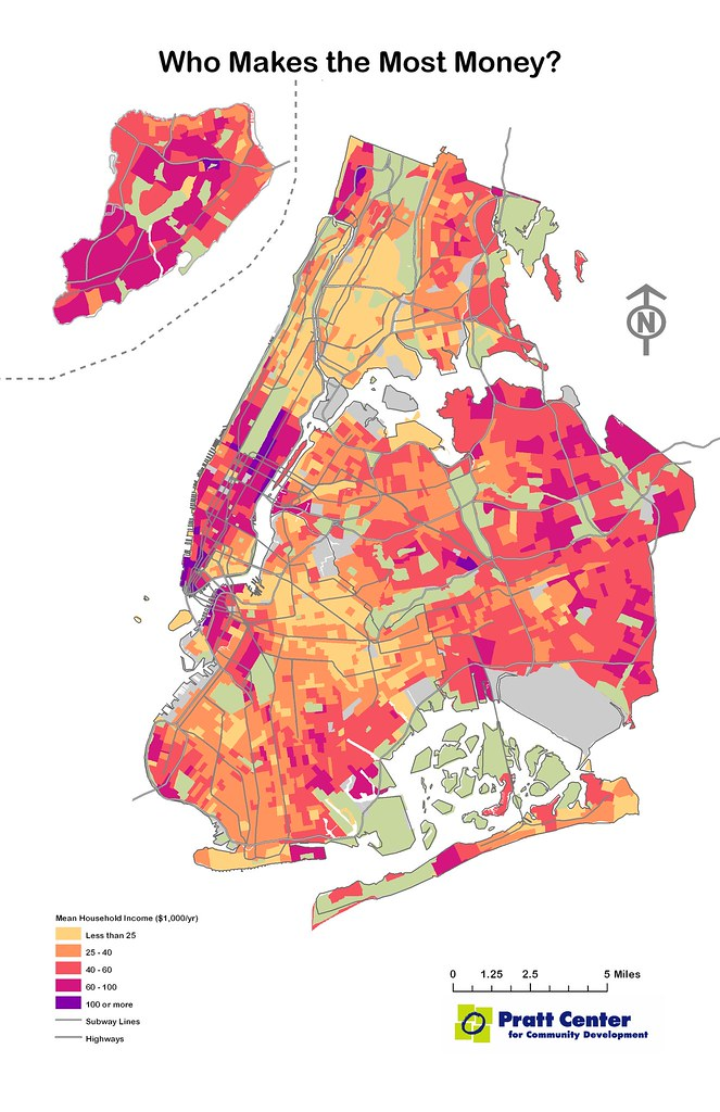 Who Makes The Most Money Map New York York low income section