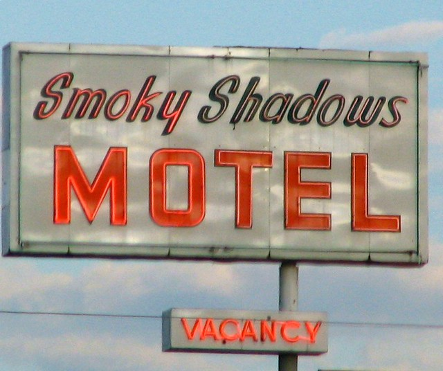 Smoky Shadows Motel sign
