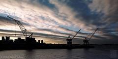Boston Waterfront Panorama (JMichaelSullivan) Tags: sky panorama mamiya boston 100v waterfront cranes 600v portra 500v m7 southie biogon mamiya7 mjsfoto1956 perfectpanoramas
