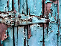blue painted hinge (Mr.  Mark) Tags: door hinge wood blue topf25 wow paint saveme4 deleteme10 decay nail chip cracked abigfave flickrchallengegroup flickrchallengewinner markboucher