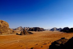 Wadi Rum the playground of Lawrence of Arabia, Jordan (Eric Lafforgue) Tags: lawrenceofarabia lawrencedarabie jordan desert sand sable lafforgue ericlafforgue lafforguemaccomhasselbladimaconhasselblad cfh39cfh39hasselblad h2 cfh39 hasselblad hasselbladh2 imacon lafforguemaccom arabie arabia middleeast ericlafforgue mytripsmypics  giordania iordania    jordania jordnia jordanie jordani jordanien jordnsko rdn alurdun   yordania       ramadan 105 copyspace bluesky wadirum telawrence colorimage scenics rock rockformation landscape outdoors horizontal middleeastern travel nopeople remote dry aridclimate day mountain barren famousplace panoramic nature tranquilscene nobody colourpicture