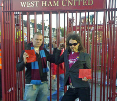 Russell Brand handcuffed (Joseph Thorn) Tags: london football protest handcuffs westhamunited westham russellbrand