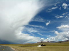 Tibet - Half and half (yewco) Tags: china sky lake storm tibet clear holy  halfandhalf   namtsolake impressedbeauty