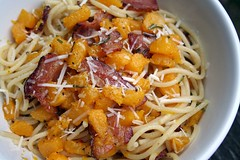 bacon & pumpkin pasta