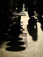 Another Point of View (mscjwharton) Tags: street light people black paris france shadows silhouettes bistro sidewalk tables losserand