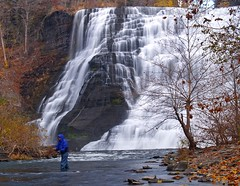 Fly Fishing (Matt Champlin) Tags: longexposure autumn cold fall contrast fishing hiking waterfalls huge upstatenewyork flyfishing ithaca waterblur fingerlakes chill towering ithacafalls novemeber bestnaturetnc07