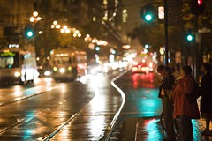 San Francisco Street Scene (Thomas Hawk) Tags: auto sanfrancisco california street city 2 people usa bus wet topf25 car rain women automobile waiting cityscape traffic unitedstates unitedstatesofamerica fav20 stop rainy marketstreet fav30 ftrain marketst fav10 fav25 fav40 superfave