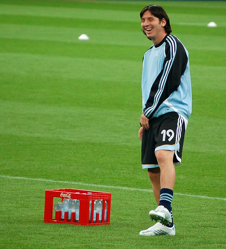 Messi laughs during pregame warmups