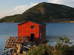 Salvage Sunset 2 (dacardoso) Tags: ocean red newfoundland shed salvage lobsterpots