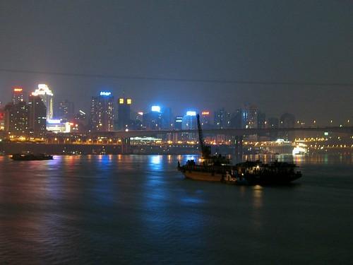 Chongqing, port nocą