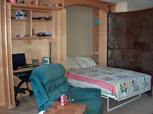 Bed, desk, recliner