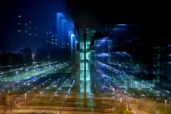 Milano torna sui suoi passi #1 (Anton Leroy) Tags: night buildings focus milano cyan nophotoshop flashlights neuromancer bpm thisisnow gambara mwpotw epicentro 6floors zoominprogress efplaying williamgibsonlike playingwithef