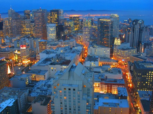 over downtown san francisco, california