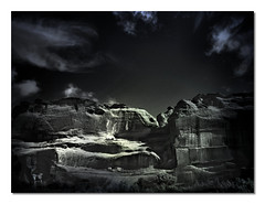 Moonlight in the Navajo Nation (jmark media llc) Tags: canyondechelly dine nationalmonument arizona navajonation kitcarson murder lies hope hopeless night nightphotography moonlight canon powershotpro1 pro1 powershot nightimage clouds bw blackandwhite ir infrared digital july2006 tinymalone jmarkmediallc flickr bravo