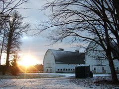 Nisqually twin barns in winter (Life As Art) Tags: november winter sunset snow nature tag3 taggedout barn outdoors tag2 tag1 barns pacificnorthwest nisqually wildliferefuge