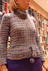 Anna and her Jawoll (sifis) Tags: city wool shop sweater nikon knitting knit athens yarn greece d200 lang pullover handknitting  sakalak jawol     sakalakwool