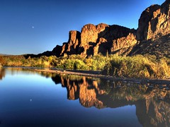 Moon on the Salt River (Videoal) Tags: blue arizona moon mountains photoshop reflections evening weeds bravo rocks shadows marsh saltriver hdr reddish tontonationalforest olympuse500 photomatix bushhwy