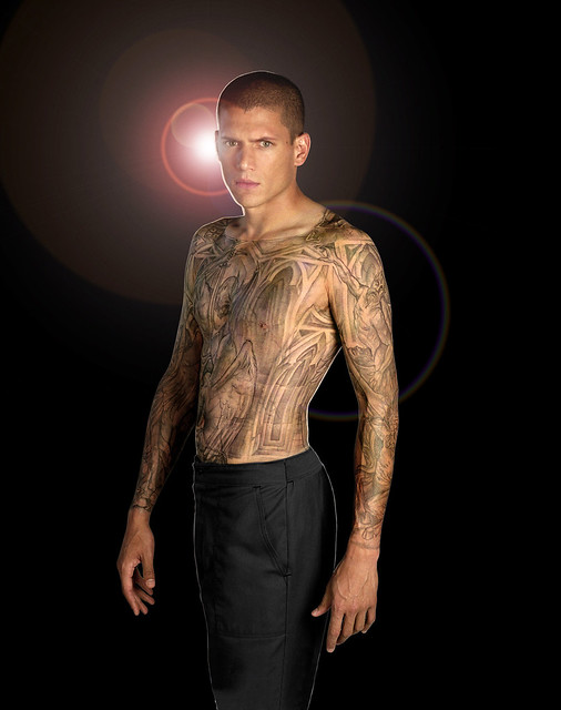 prison break - michael scofield. the entire prison's map tattooed on his