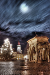 Valdstejn Square, Jicin (Stevacek) Tags: longexposure blue moon photoshop square czech hdr cesky wallenstein jicin photomatix namesti ceskyraj bohemianparadise modra valdstein vadstejn mesice