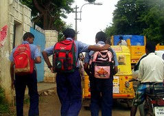 Going back Home (Kamala L) Tags: india students levelcrossing vehicleswaiting