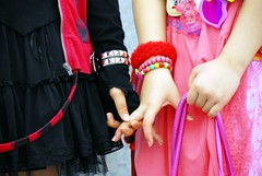 Holding hands (manganite) Tags: pink girls people black cute topf25 colors beautiful fashion japan digital pose geotagged asian japanese tokyo costume interestingness cool nikon asia pretty hand cosplay tl finger gothic young teens posing style explore lolita harajuku kawaii fancy teenager getty  fingernails nippon  holdinghands d200 nikkor dslr topf150 cuties topf250 topf200 nihon kanto gettyimages stylish japanesegirl  topf400 topf500 interestingness19 i500 18200mmf3556 gtaggroup goddaym1 utatafeature manganite nikonstunninggallery ipernity challengeyou challengeyouwinner cyniner geo:lon=1397023653255284 geo:lat=3566983816299961 date:year=2006 date:month=august date:day=12