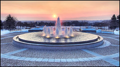 Winter Sunset on Provo Temple Fountain (An Photo) Tags: lake building church square temple utah god salt sacred brighamyoung framework stgeorge josephsmith lds jamestown polygamy moroni witness mormontemple m