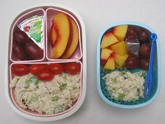 Chicken salad: mother & son lunches (Biggie*) Tags: food chicken cheese lunch box tomatoes grapes bento nectarines packedlunch boxlunch bentobox  chickensalad biggie  lunchinabox   sacklunch  boxedlunch bentoblog brownbaglunch  ssbiggie lunchinaboxnet twittermoms