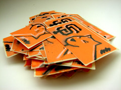 Stickers... (LukeDaDuke) Tags: sf sanfrancisco orange stencil sticker stickers sw adhesivo autocollant etiqueta foob  stickerwar  autoadesivo