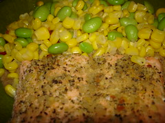 Grilled Salmon with Corn, Soybeans, and some bizarre creation I won't explain (Plaid Ninja) Tags: food fish corn rice grill grilled soybeans slamon soycutash