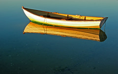 Cape Cod Dory Reflection- 7:33AM (Chris Seufert) Tags: ma boat chatham cape rowboat cod dory utatafeature exploretop20