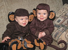 Monkeys 0813 (casch52) Tags: 20d girl canon monkey photo costume kid twins child tail photograph familygetty