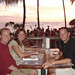Eating at Duke's at sunset on Waikiki Beach - Scott, Erica & Justin